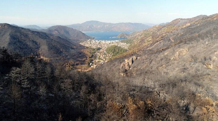 Marmaris'te 13 bin 650 hektarın yandığı orman alanları havadan görüntülendi